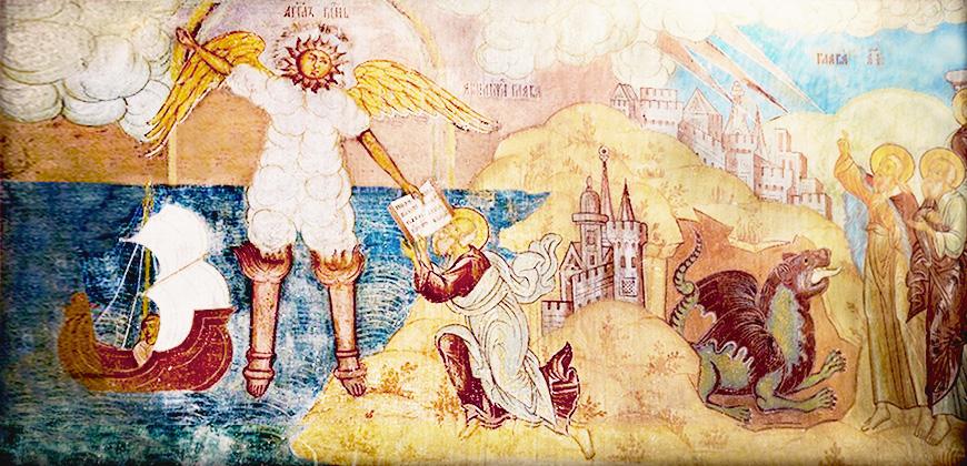 читать апокалипсис иоанна богослова в простом изложении : Ангел облеченный в облако, два свидетеля и зверь. Фреска из Крестовоздвиженского собора г.Тутаева