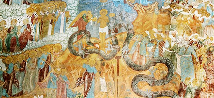 читать апокалипсис иоанна богослова в простом изложении : Страшный суд на фреске Ростовского кремля.