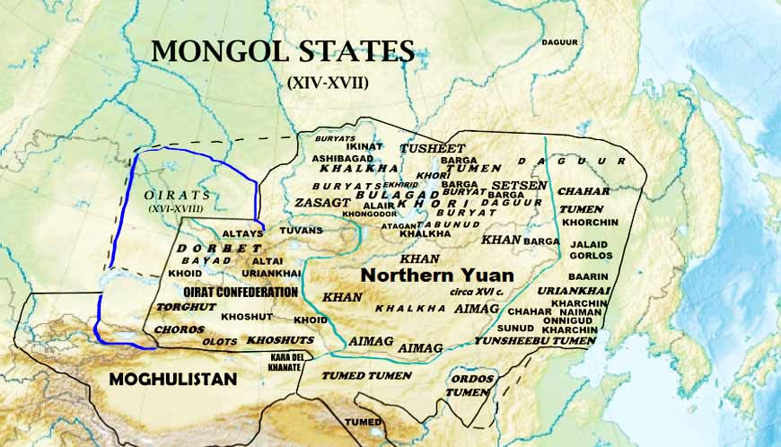 Монгольские государства в XIV-XVII вв. Монгольский каганат, Ойратское ханство и Могулистан